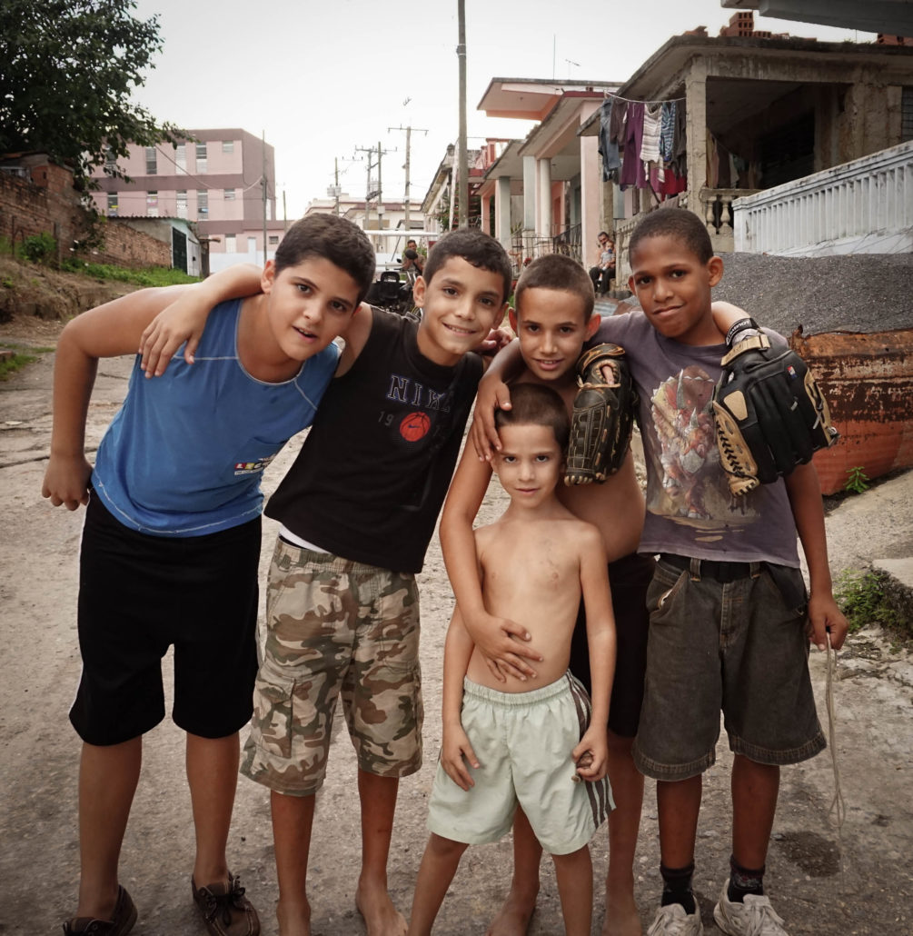 Boys in a cuban neighborhood