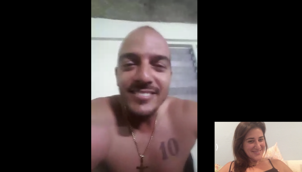 Man and Woman chatting on a videocall. Dating in Cuba