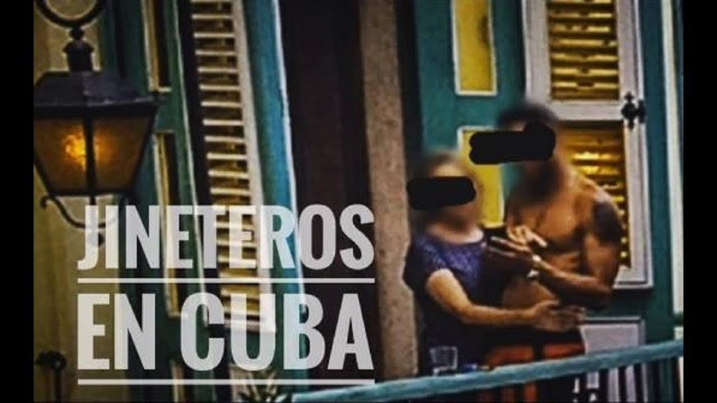 Text Jineteros en Cuba a cuban man and foreign woman on a balcony. Faces covered.
