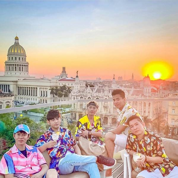 Havana Jay chou enjoying sunset on rooftop